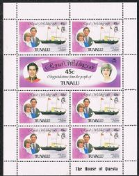 Tuvalu SG170a 1981 Royal Wedding 7x45c sheetlet unmounted mint